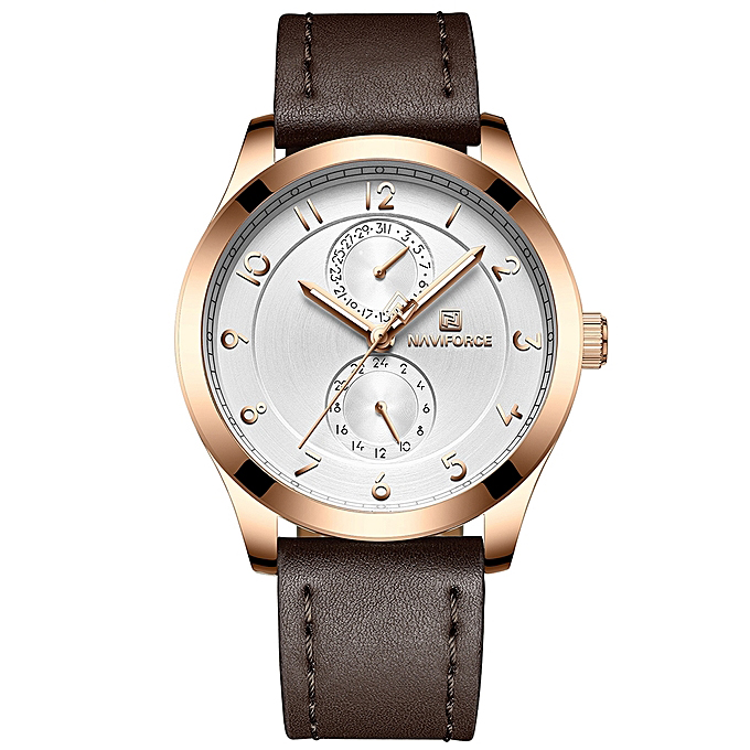 ساعت مچی عقربه ای مردانه نیوی فورس مدل NF3004M /GHA-TA به همراه دستمال مخصوص نانو برند کلیر واچ 38