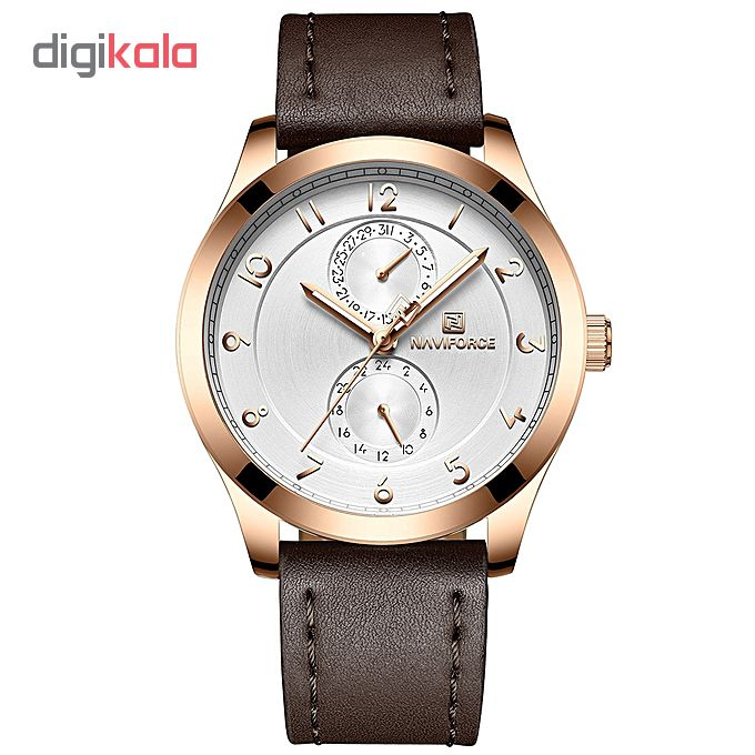 خرید ساعت مچی عقربه ای مردانه نیوی فورس مدل NF3004M /GHA-TA به همراه دستمال مخصوص نانو برند کلیر واچ