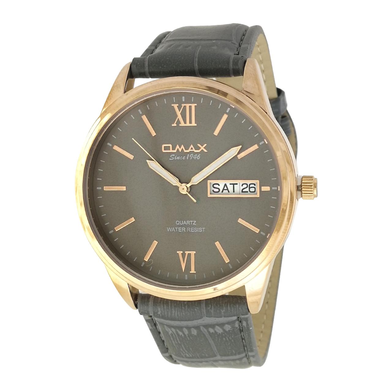 ساعت مچی عقربه ای مردانه اوماکس مدل gd03r به همراه دستمال مخصوص برند کلین واچ