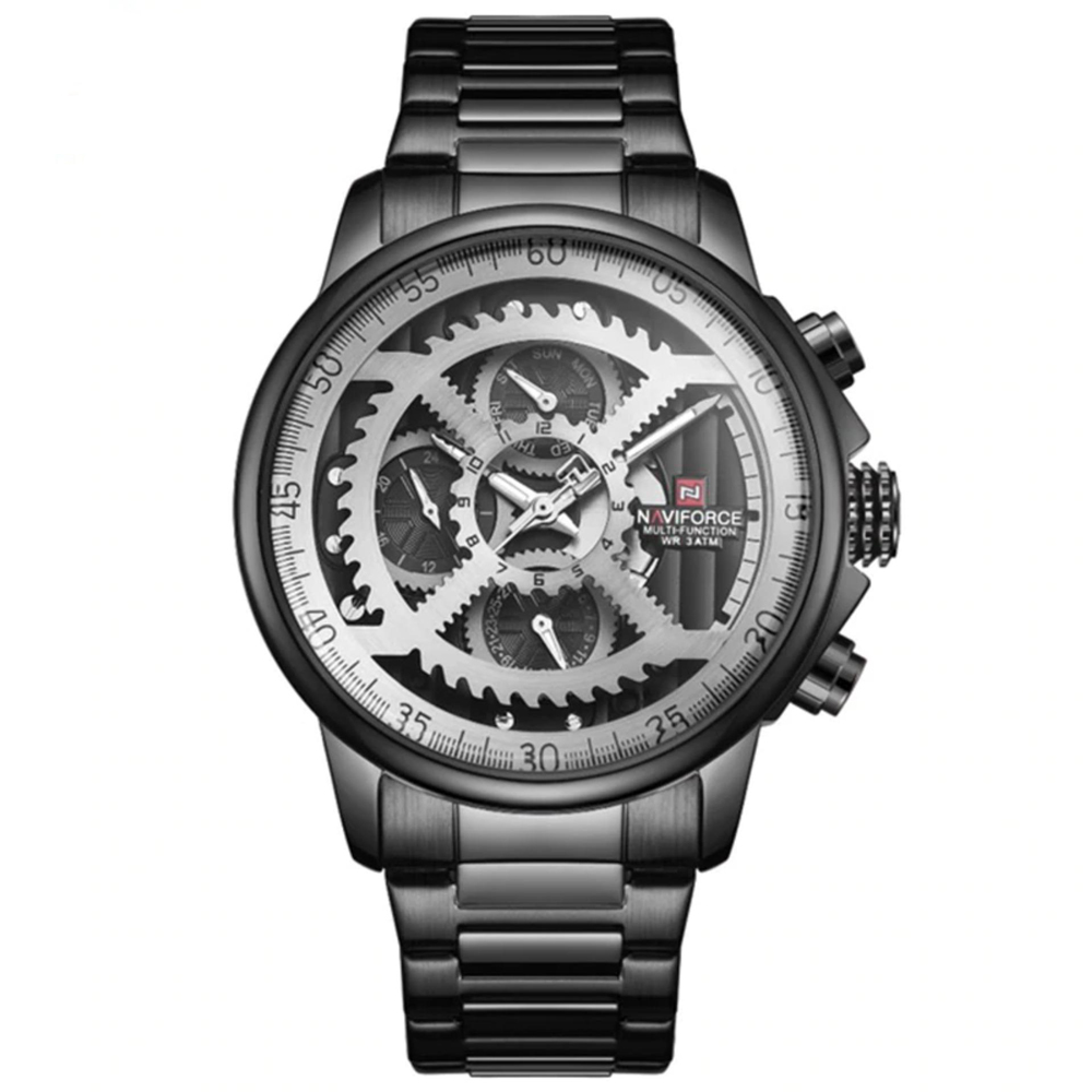 ساعت مچی عقربه ای مردانه نیوی فورس مدل NF9150M / ME-TO به همراه دستمال مخصوص نانو برند کلیر واچ 43