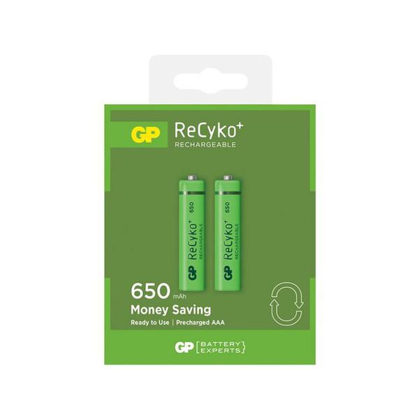 باتری نیم قلمی قابل شارژ جی پی مدل ReCyko Plus 650 بسته دو عددی