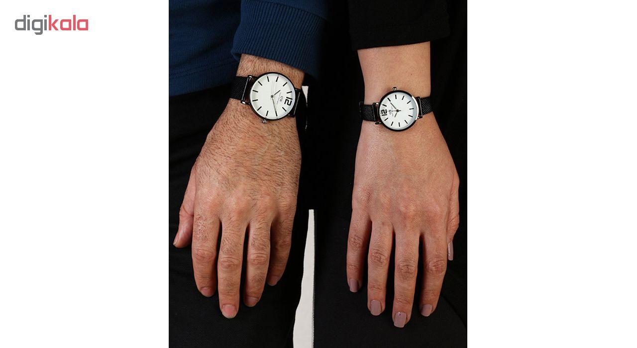 ست ساعت مچی عقربه ای زنانه و مردانه مدل D-MW-Bk