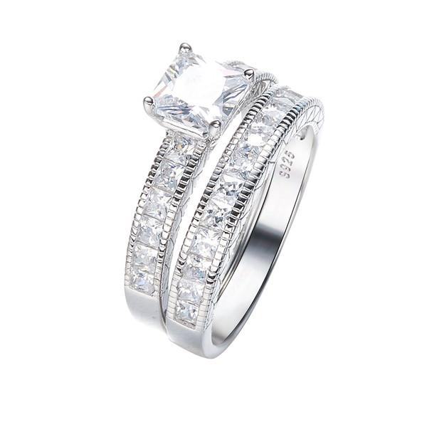 حلقه و پشت حلقه نقره زنانه کد GR0446
