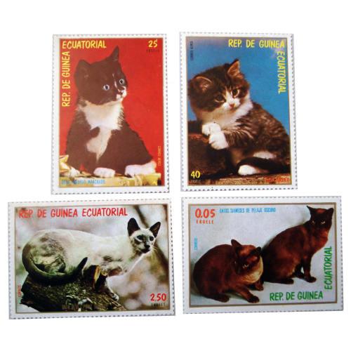 تمبر یادگاری سری حیوانات مدل   CATBLUE مجموعه 4 عددی