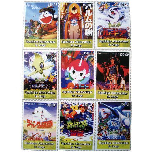 تمبر یادگاری سری کارتونی مدل ICE2004 مجموعه 9 عددی