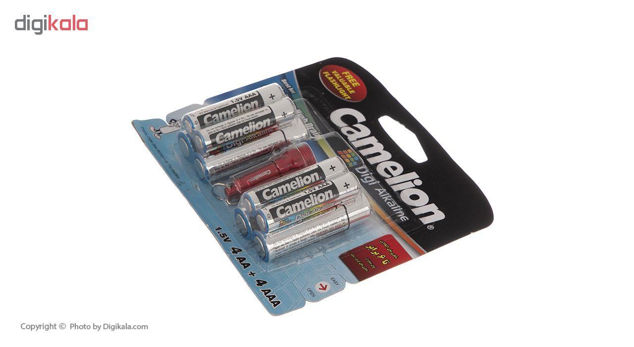 باتری کملیون مدل Digi Alkaline بسته 8 عددی به همراه یک چراغ قوه main 1 8