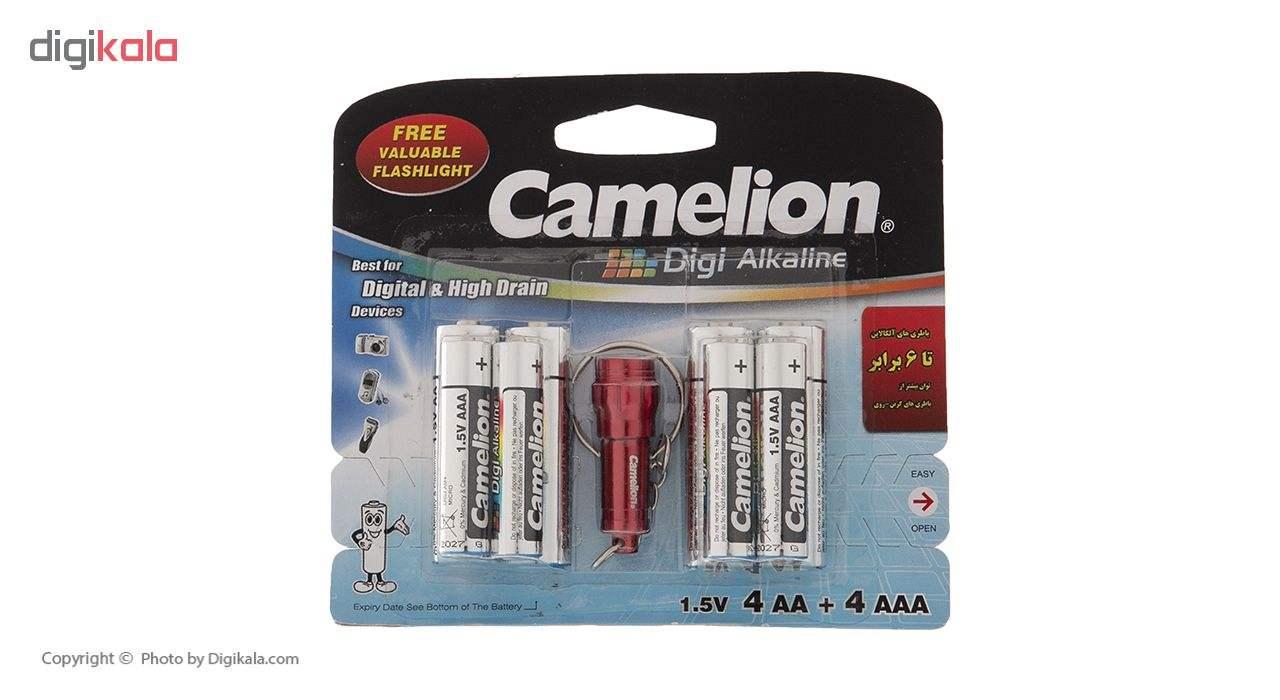 باتری کملیون مدل Digi Alkaline بسته 8 عددی به همراه یک چراغ قوه main 1 1