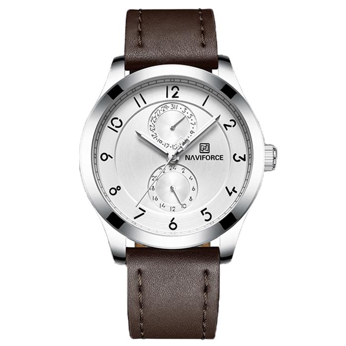 ساعت مچی عقربه ای مردانه نیوی فورس مدل NF3004M /GHA-NO به همراه دستمال مخصوص نانو برند کلیر واچ