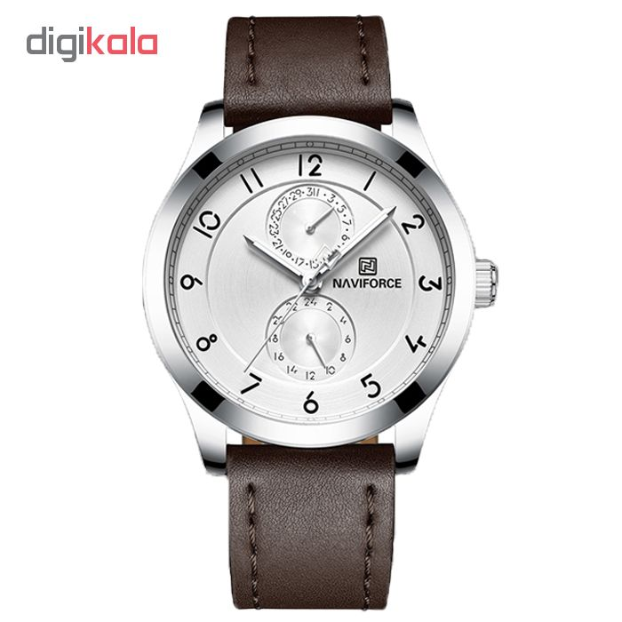 خرید ساعت مچی عقربه ای مردانه نیوی فورس مدل NF3004M /GHA-NO به همراه دستمال مخصوص نانو برند کلیر واچ