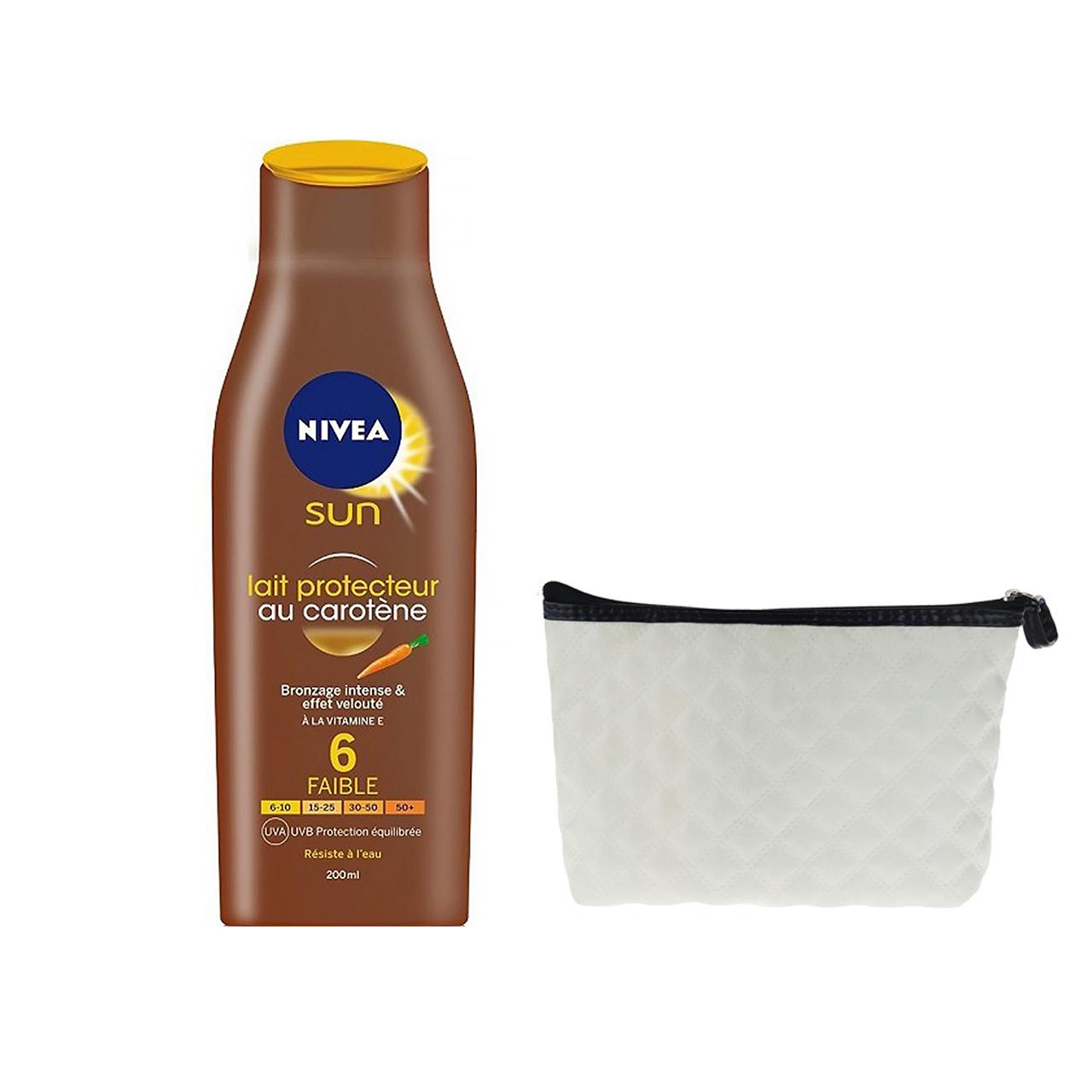قیمت لوسیون آفتاب نیوآ مدل Sun Protector Milk Carotene Spf6 حجم 200 میلی لیتر به همراه کیف