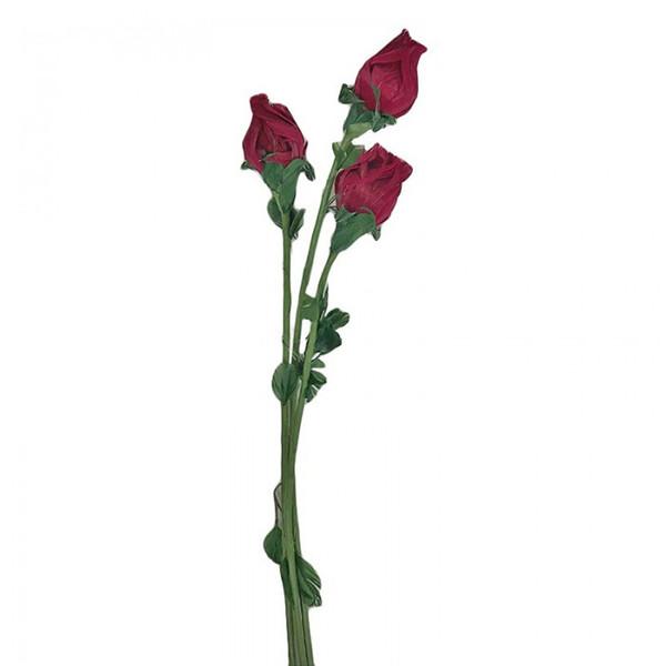 گل مصنوعی طرح شاخه گل رز کد 4393 بسته 3 عددی