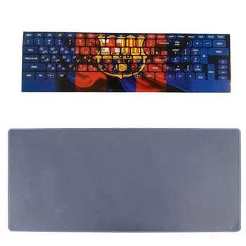 برچسب حروف فارسی کیبورد طرح بارسلونا به همراه محافظ کیبورد مدل 15-I مناسب برای لپ تاپ 15.6 اینچ