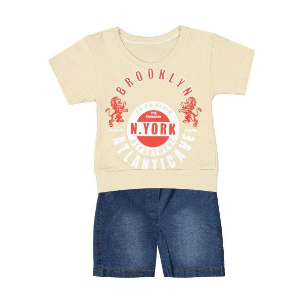 ست تی شرت و شلوارک نوزادی پسرانه کد 143