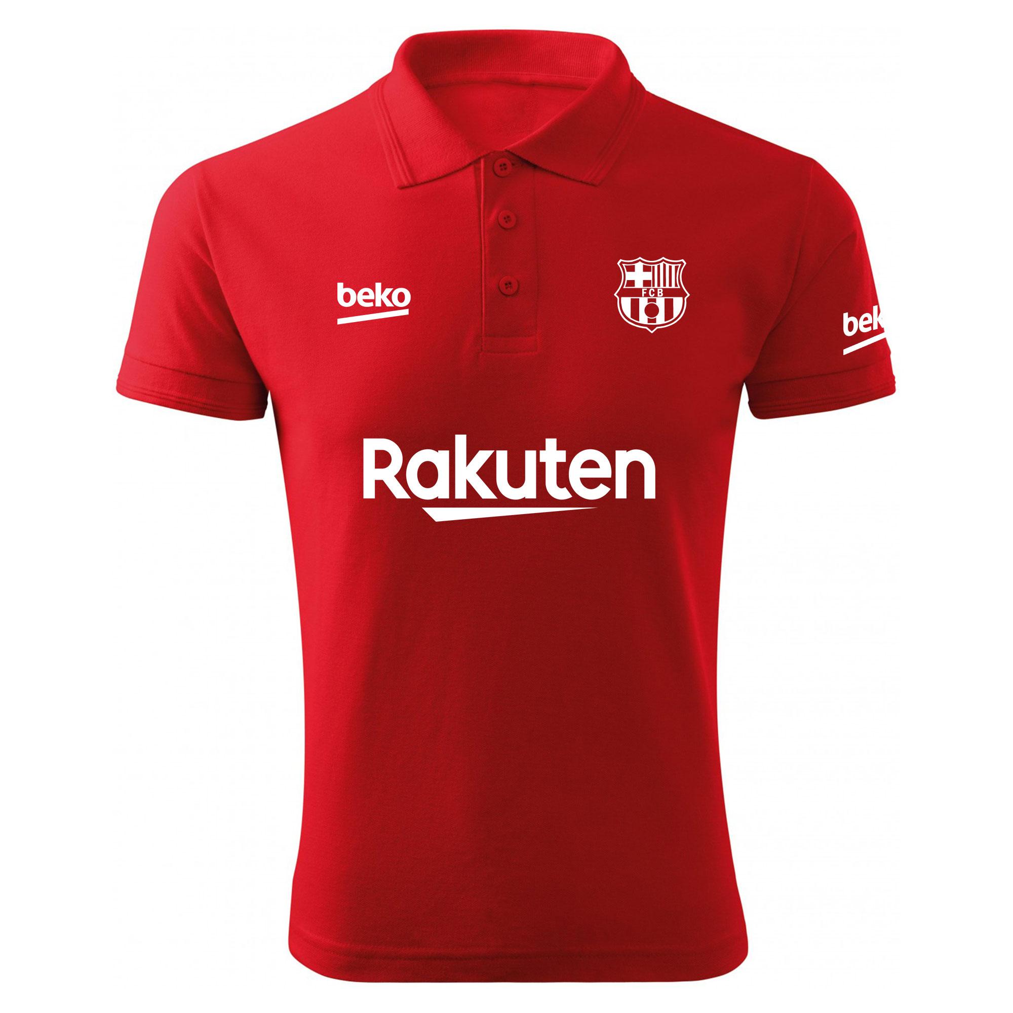 پولوشرت مردانه طرح تیم بارسلونا کد 16021 Red