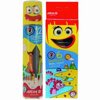 مداد رنگی 12 رنگ آریا مدل 567 به همراه آبرنگ 6 رنگ آریا مدل 76