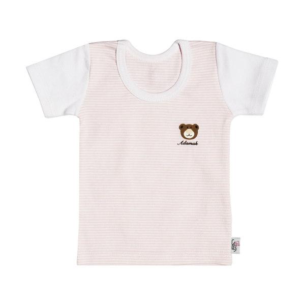 تیشرت آستین کوتاه نوزادی دخترانه آدمک طرح راه راه کد 02 رنگ صورتی