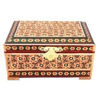 جعبه جواهرات خاتم کاری طرح گل قرمز کد MRK2