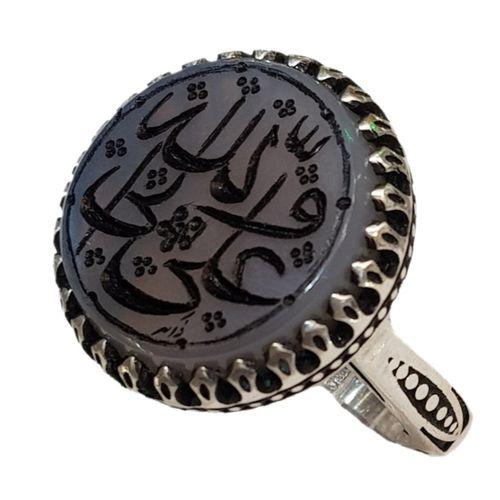 انگشتر نقره مردانه مدل عقیق کبود خطى طرح علی ولی الله کد ۲۰۰۰۰۱۲