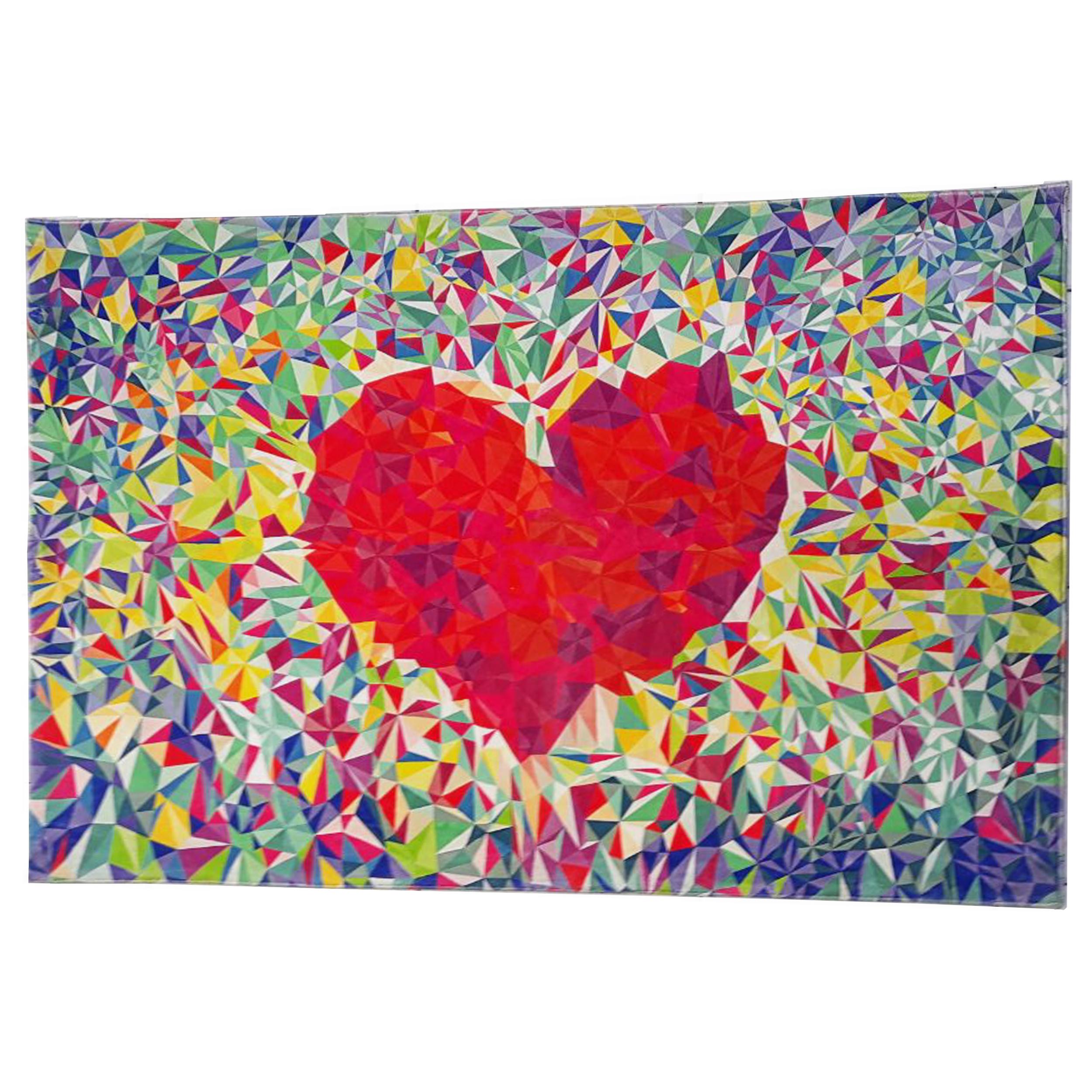 فرش ماشيني فانتزی طرح سه بعدی قلب کد T0102