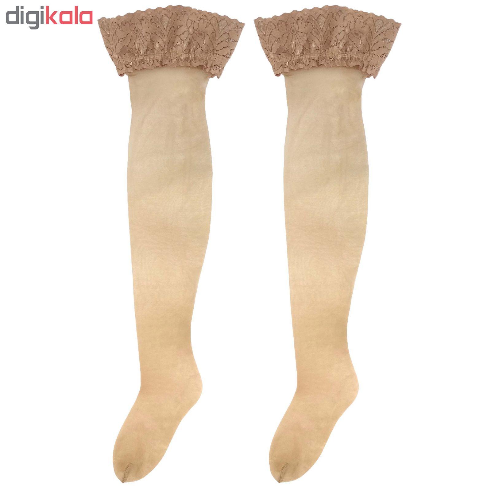 جوراب بلند زنانه مدل تور ژل دار کد cregl main 1 1