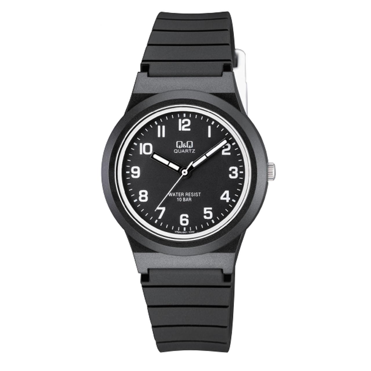 ساعت مچی عقربه ای پسرانه کیو اند کیو مدل vr94j001y  به همراه دستمال مخصوص برند کلین واچ