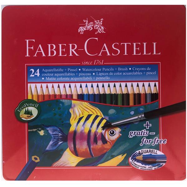 مداد آبرنگی 24 رنگ فابرکاستل مدل Classic جعبه فلزی