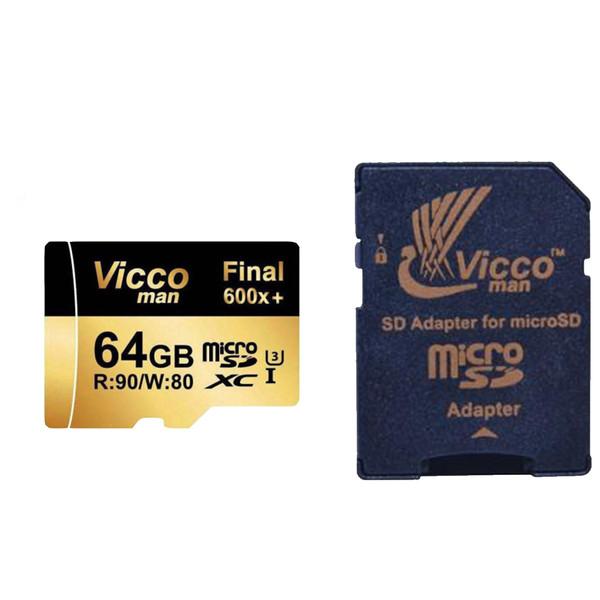 کارت حافظه microSDXC ویکومن مدل 600x plus کلاس 10 استاندارد UHS-I U3 سرعت 90MBs ظرفیت 64 گیگابایت به همراه آداپتور SD