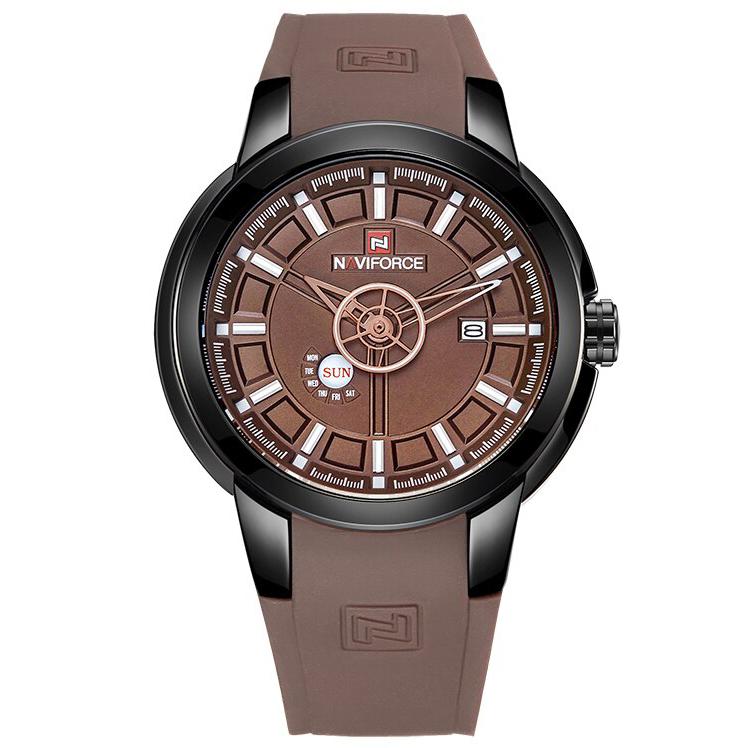 ساعت مچی عقربه ای مردانه نیوی فورس مدل NF9107M / GHA-GH به همراه دستمال مخصوص نانو برند کلیر واچ
