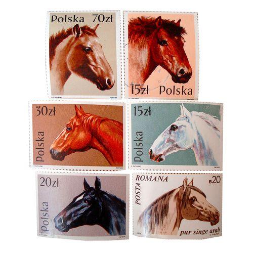 تمبر یادگاری سری حیوانات مدل HORSE2B مجموعه 6 عدد