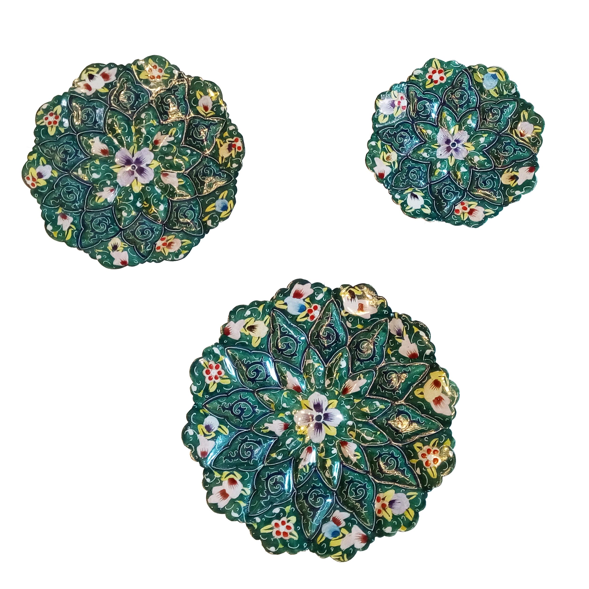 عکس بشقاب میناکاری طرح نقاشی پرداز مدل گل بهاری مجموعه سه عددی