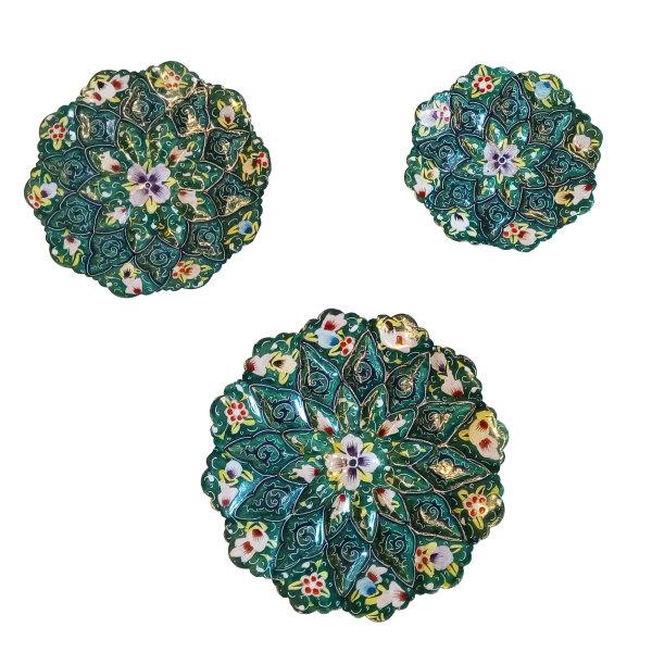 بشقاب میناکاری طرح نقاشی پرداز مدل گل بهاری مجموعه سه عددی