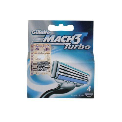 تیغ یدک ژیلت ليبل دار اصل مدل Mach 3 Turbo بسته ۴ عددی