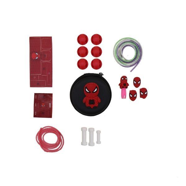 محافظ کابل شارژ کد 123مجموعه 15 عددی به همراه کیف هندزفری و برچسب آداپتور