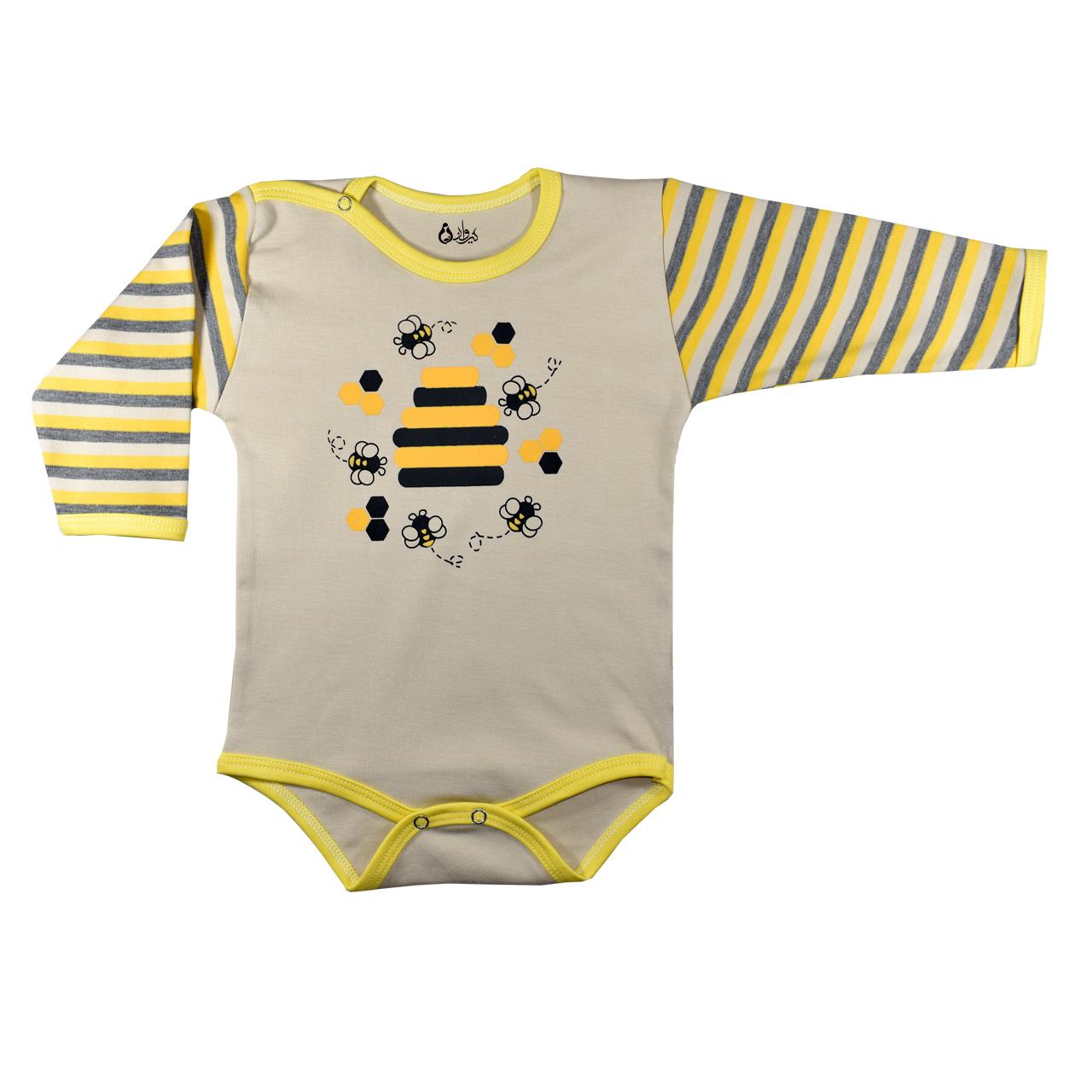 بادی آستین بلند نوزادی پسرانه نیروان طرح زنبور عسل