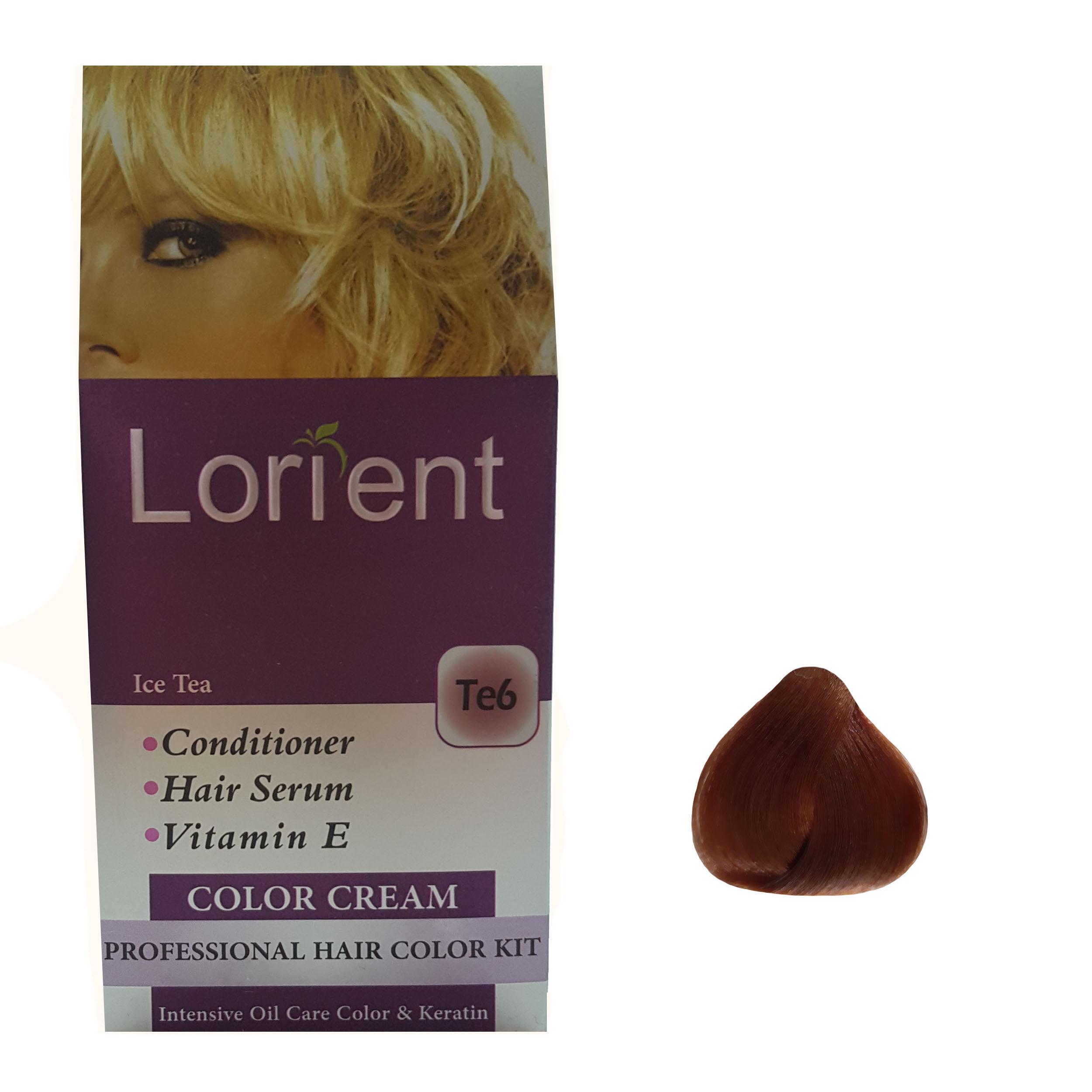 کیت رنگ مو لورینت شماره Te6 حجم 100 میلی لیتر رنگ قهوهای