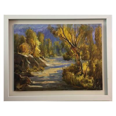 Photo of تابلو نقاشى رنگ روغن طرح جاده پاییزى