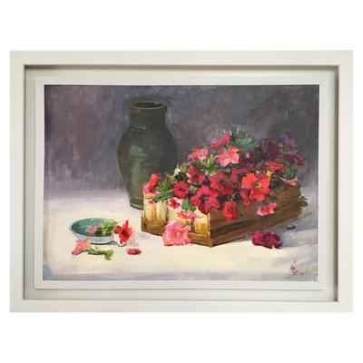Photo of تابلو نقاشى رنگ روغن طرح گل هاى اطلسى