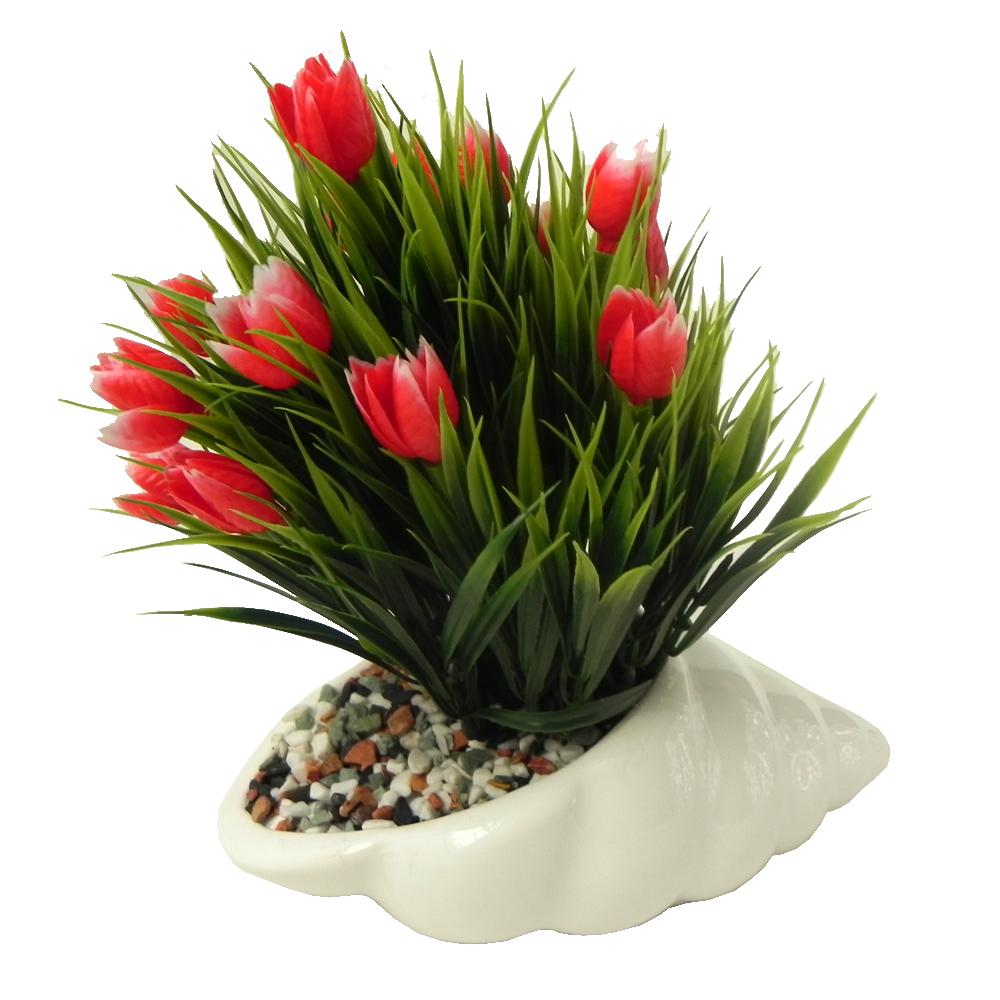 گلدان به همراه گل مصنوعی طرح حلزون کد 0012