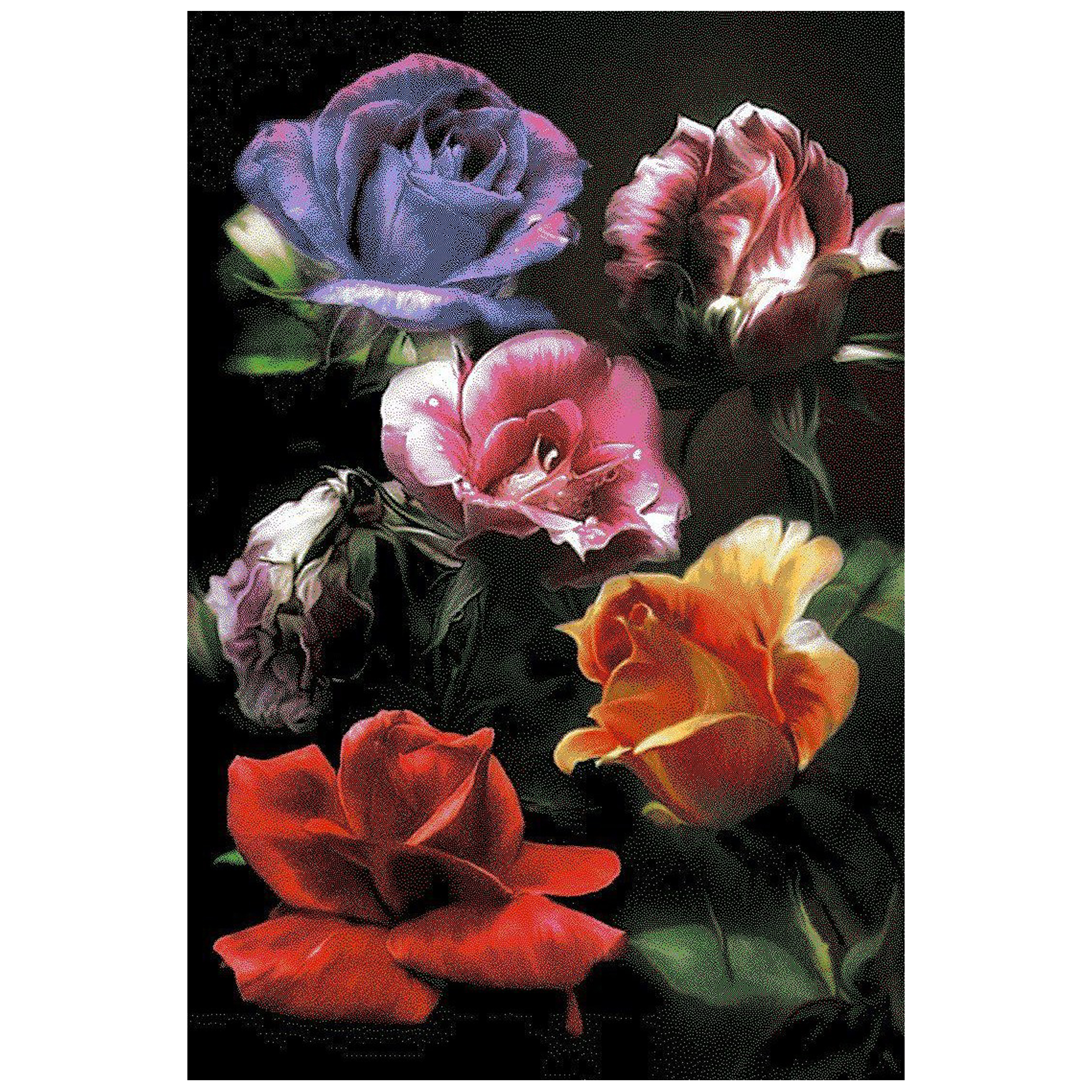 فرش ماشيني فانتزی سه بعدی طرح گل رز کد T0113