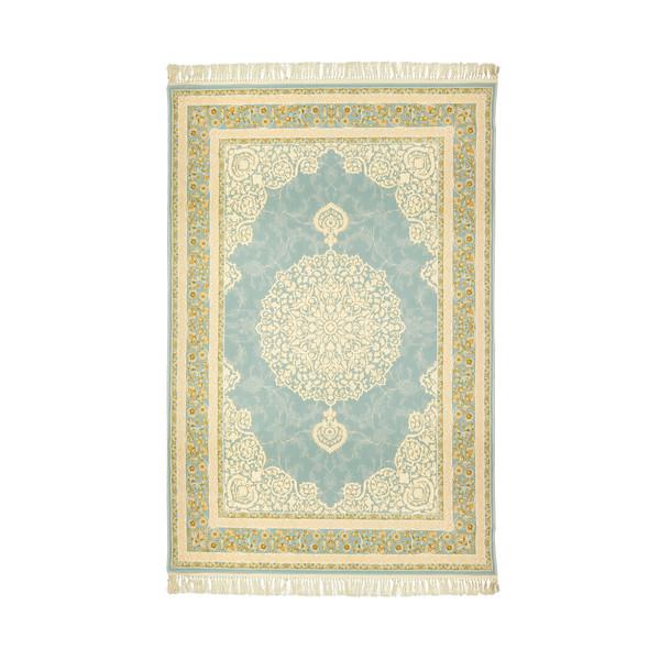 فرش ماشینی عرش طرح آیدا شاه عباسی زمینه آبی