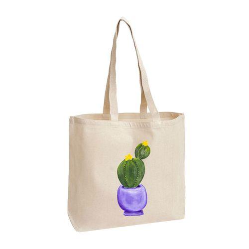 کیف دوشی پارچه ای طرح گلدان کاکتوس مدل 19