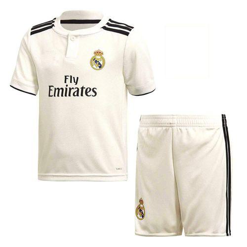 پیراهن و شورت ورزشی پسرانه طرح رئال مادرید کد 2018 رنگ سفید