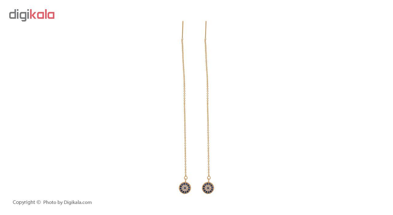 گوشواره بخیه ای زنانه طرح چشم نظر کد SH516 GOLD