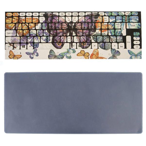 برچسب حروف فارسی کیبورد طرح پروانه به همراه محافظ کیبورد مدل 15-I مناسب برای لپ تاپ 15.6 اینچ