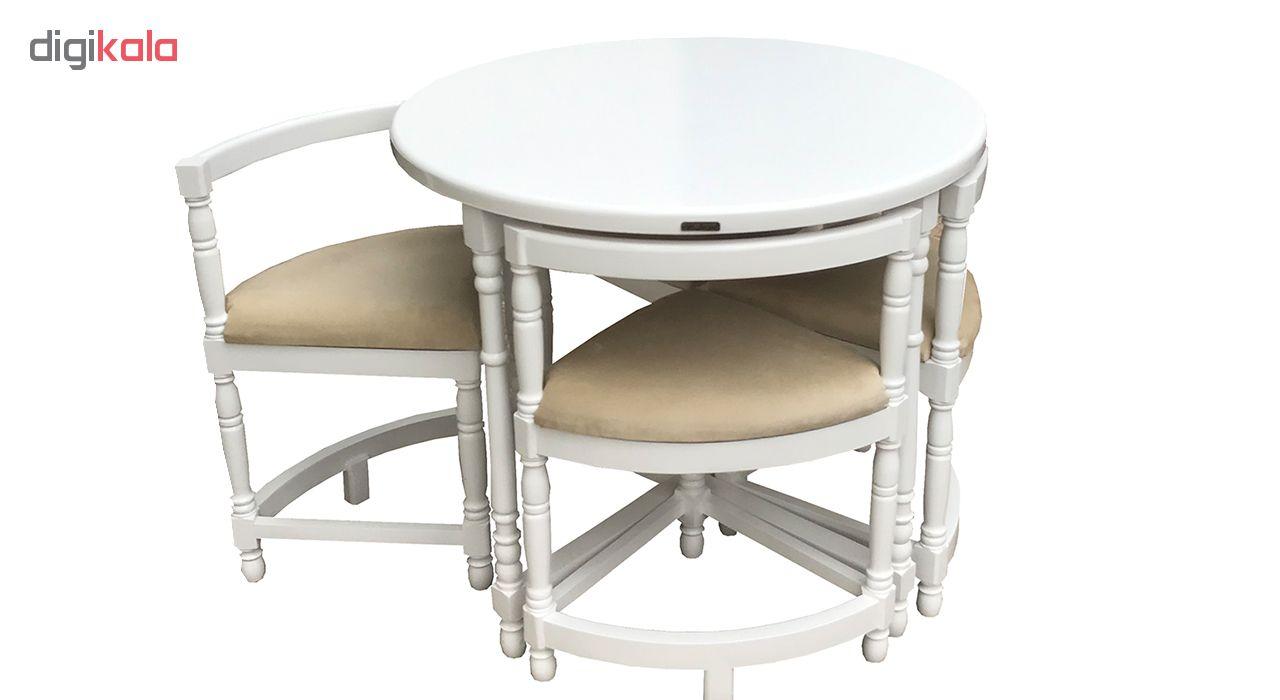 میز و صندلی ناهار خوری کمجا تمام منبت اسپرسان چوب مدل SM32