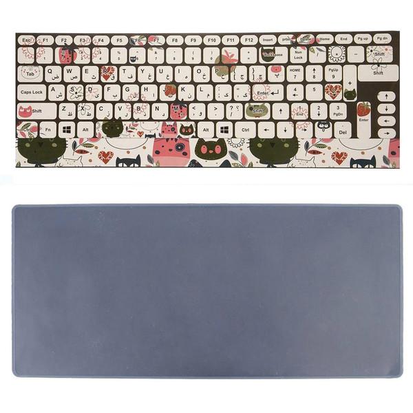 برچسب حروف فارسی کیبورد طرح گربه به همراه محافظ کیبورد مدل 14-I مناسب برای لپ تاپ 14 اینچ