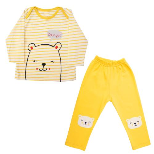 ست تیشرت و شلوار نوزادی دخترانه کد E003 رنگ زرد
