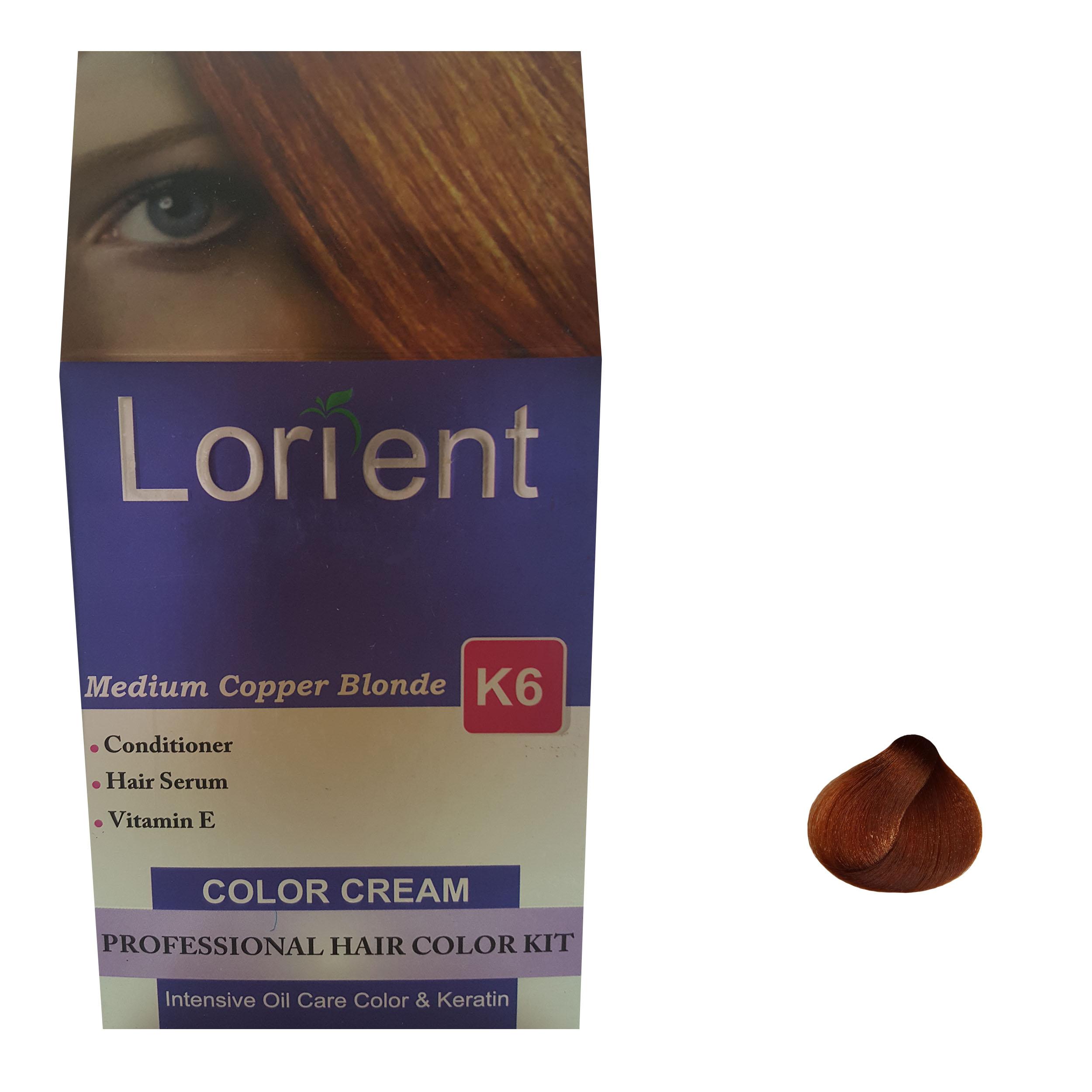 کیت رنگ مو لورینت شماره K6 حجم 100 میلی لیتر رنگ بلوند مسی متوسط