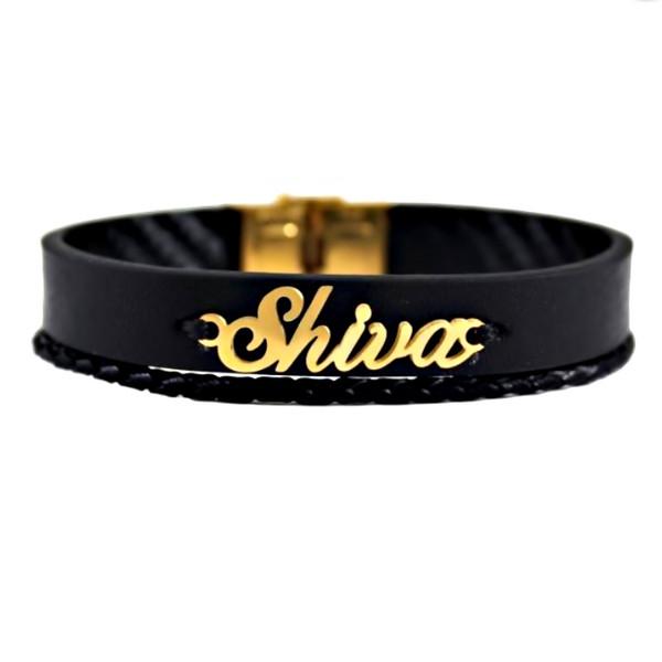 دستبند طلا 18 عیار زنانه آمانژ طرح شیوا کد D2045