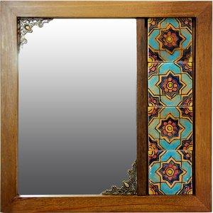 آینه دست نگار طرح کاشی سنتی کد 01-24